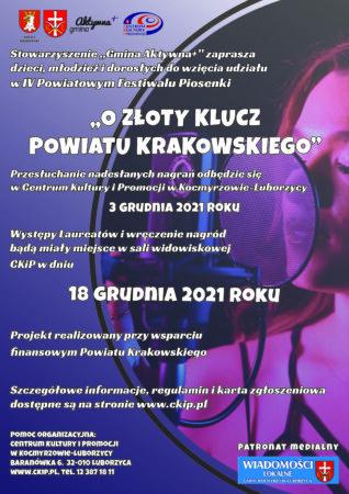 """IV Powiatowy Festiwal Piosenki """"OZłoty Klucz Powiatu Krakowskiego"""""""